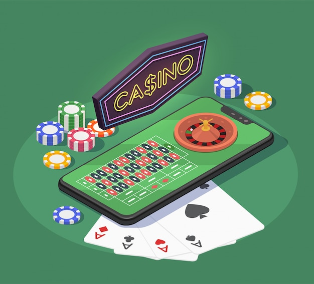 Online casino isometric composition with smartphone cards and chips for gambling games on green background 3d Free Vector