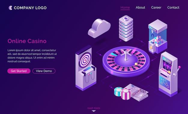 Изометрическая целевая страница интернет-казино, веб-баннер Бесплатные векторы