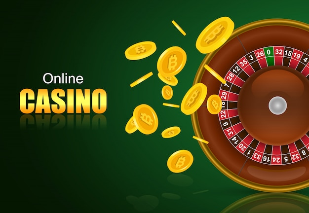 Online casino lettering, roulette and flying golden coins. casino business advertising Free Vector