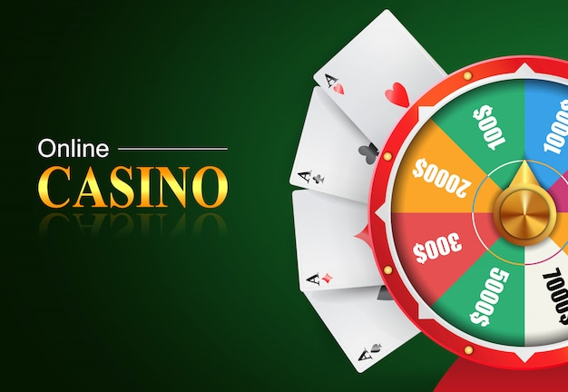 Online casino lettering, wheel of fortune with money prizes bets and four aces. Free Vector