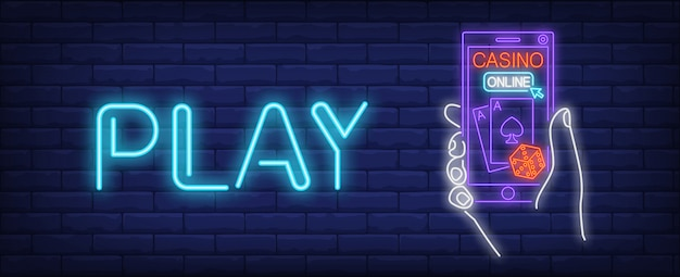 Online casino neon sign. gambling application and play inscription Free Vector