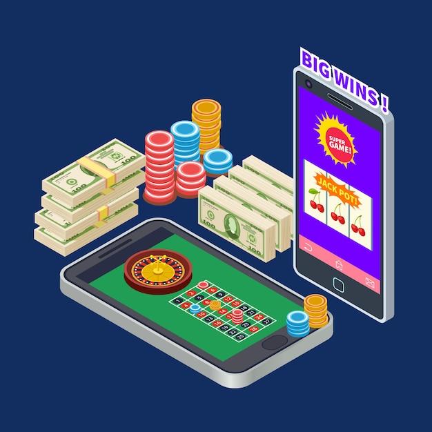 지폐와 칩 아이소 메트릭 개념으로 온라인 카지노 또는 도박 프리미엄 벡터