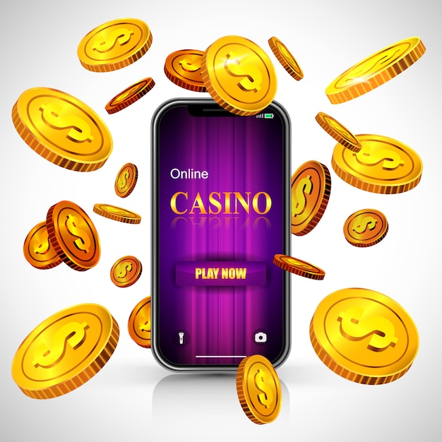 Online casino play now lettering on smartphone screen and flying golden coins. Free Vector