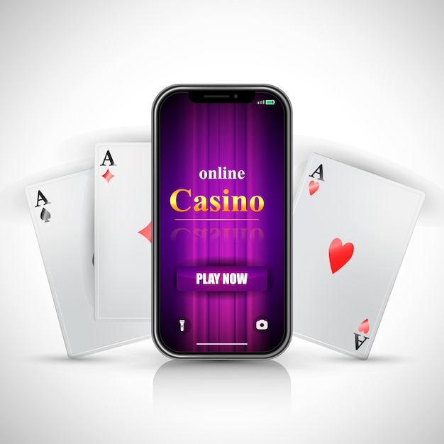 Online Casino Play Now Lettering On Smartphone Screen And Three Aces Free Vector