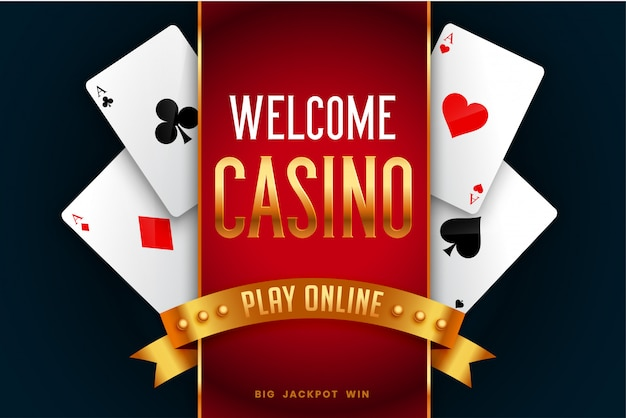 Online casino playing game welcome screen background Free Vector
