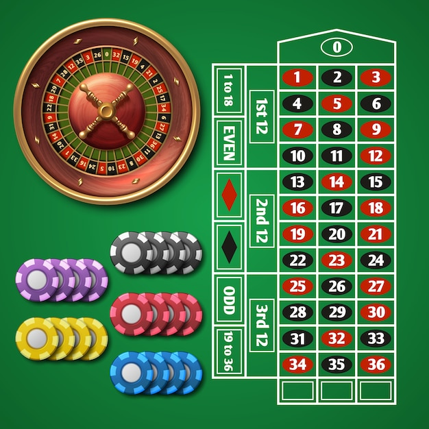 Online casino roulette and gambling table with chips vector set. Premium Vector