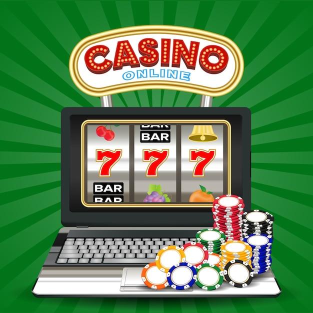 Online casino slot machine game on laptop computer Premium Vector