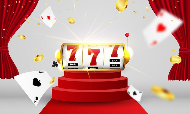 Online casino. smartphone or mobile phone, slot machine, casino chips flying realistic tokens for gambling, cash for roulette or poker, Premium Vector