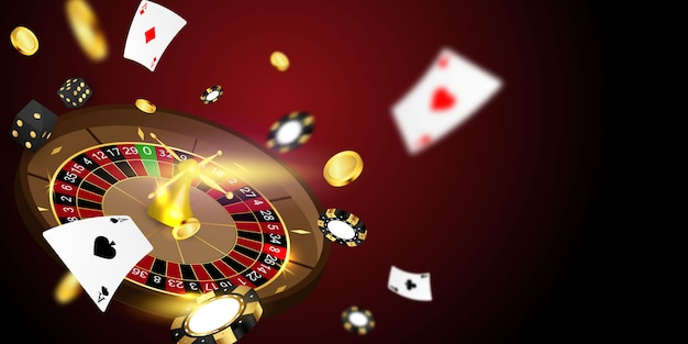 Online casino. smartphone or mobile phone, slot machine, casino chips flying realistic tokens for gambling, cash for roulette or poker Premium Vector