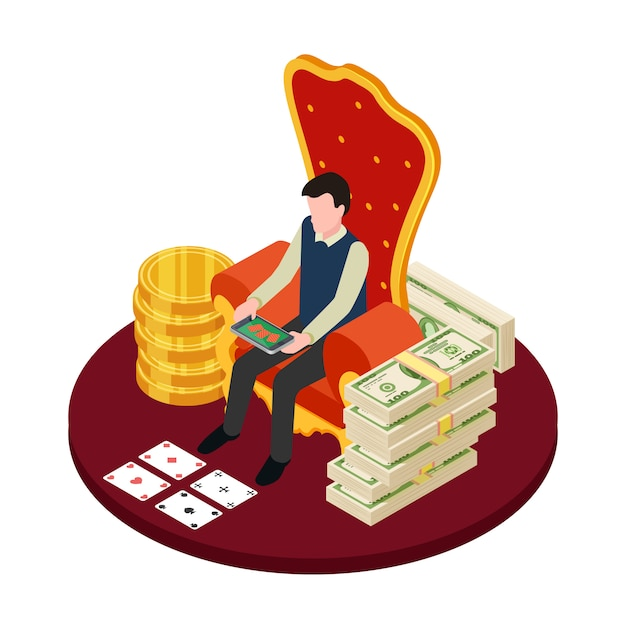 Online casino with banknotes, coins and man with tablet isometric  illustration Premium Vector