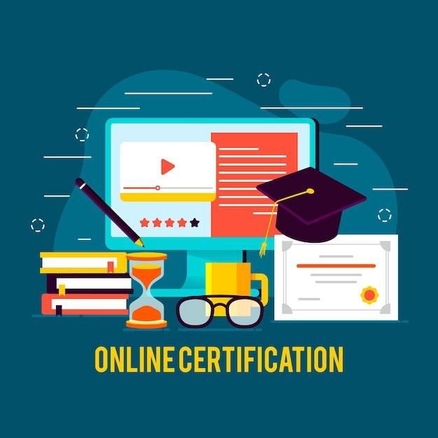 Концепция онлайн-сертификации с компьютером Бесплатные векторы