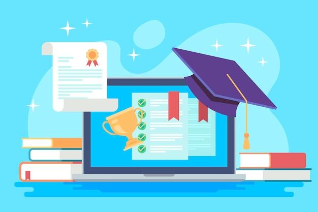 Концепция онлайн-сертификации со степенью Бесплатные векторы