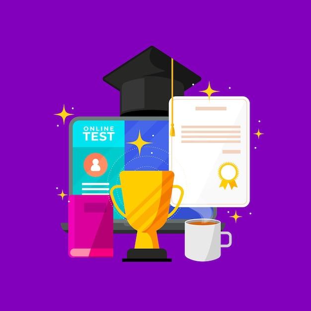 Концепция онлайн-сертификации с дипломом Бесплатные векторы