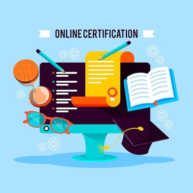 Концепция онлайн-сертификации Бесплатные векторы