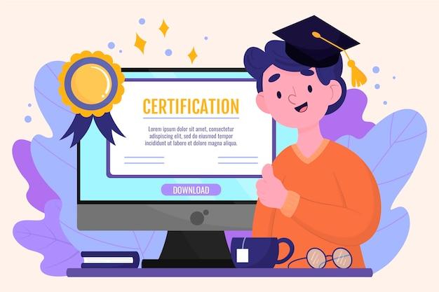 Концепция онлайн-сертификации Premium векторы