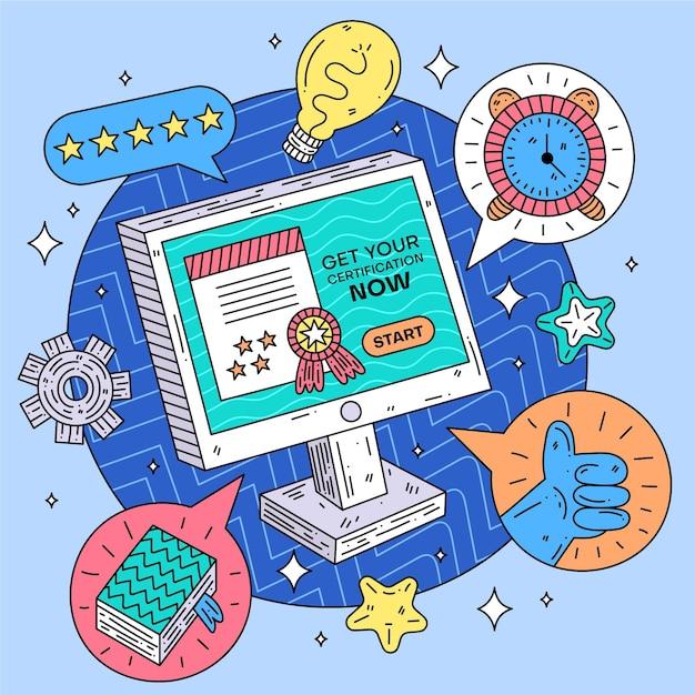 Онлайн аттестация на выпускной Бесплатные векторы