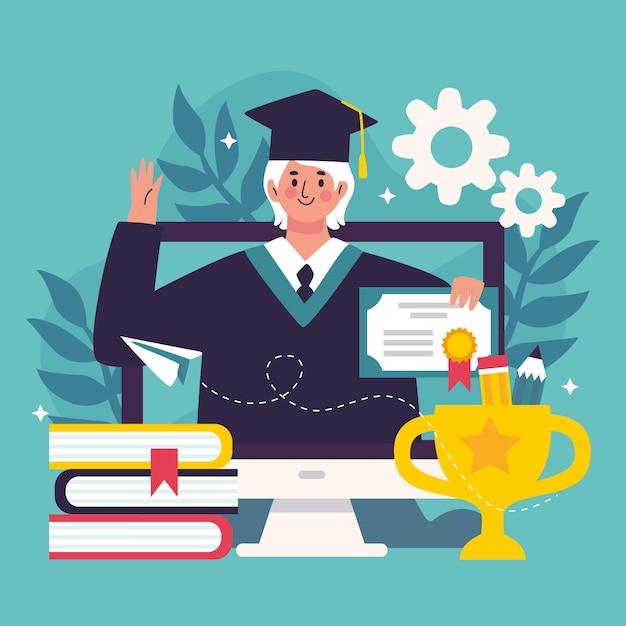Концепция иллюстрации онлайн сертификации Бесплатные векторы