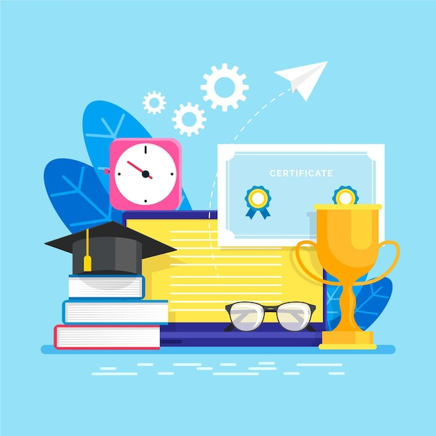 Online certification illustration style Free Vector