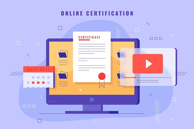 Online certification illustration with computer Free Vector