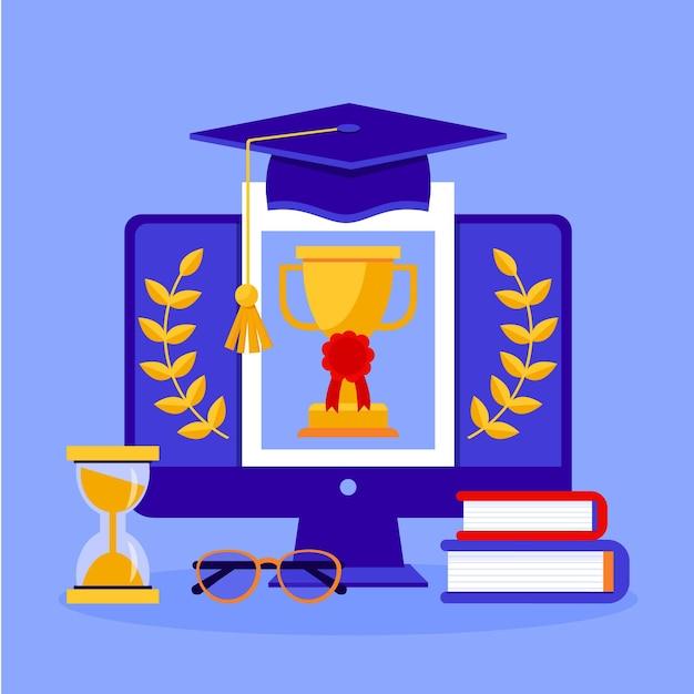Онлайн-сертификация на экране Бесплатные векторы