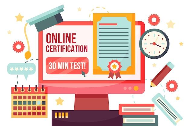 本とコンピューターによるオンライン認定 無料ベクター
