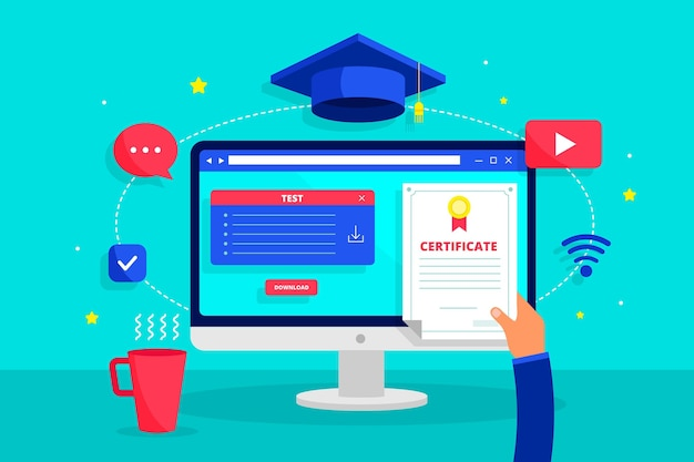 Online certification with cap Free Vector