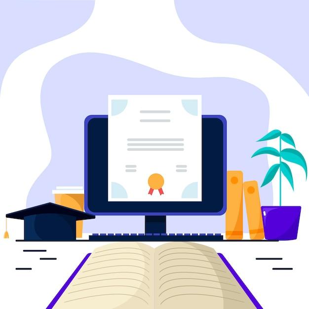 コンピューターと本によるオンライン認定 無料ベクター