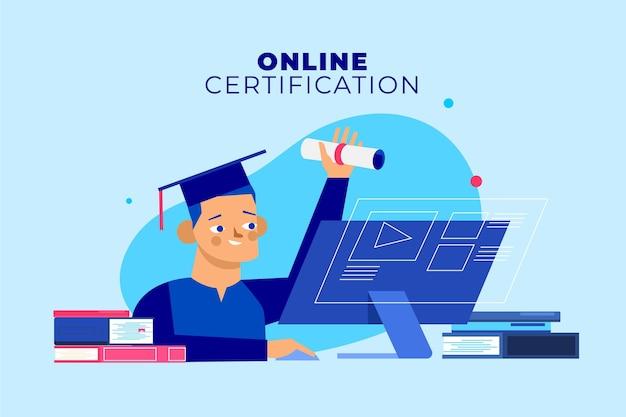 コンピュータと卒業生によるオンライン認定 無料ベクター