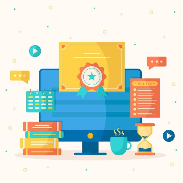 Certificazione online con computer Vettore gratuito