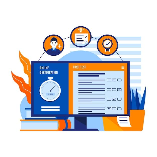 コンピューターによるオンライン認証 無料ベクター
