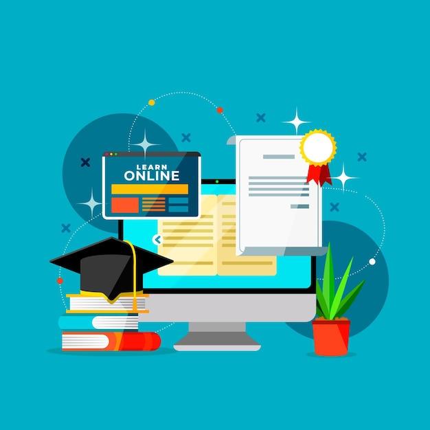 Онлайн сертификация с компьютером Бесплатные векторы