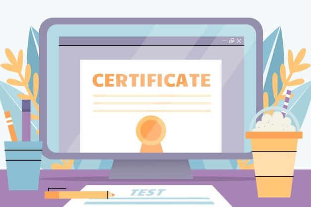 Online certification with laptop Free Vector