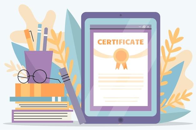 タブレットによるオンライン認定 無料ベクター