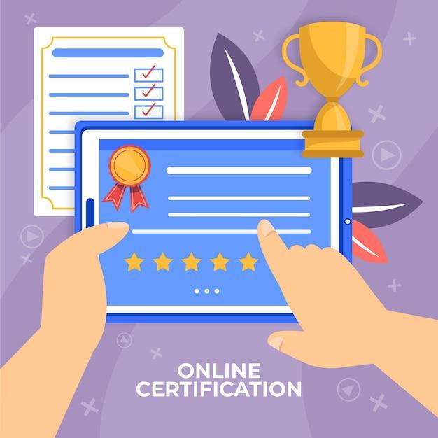 Certificazione online con possesso di personaggio virtuale Vettore gratuito