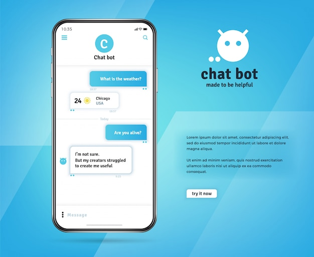 Online chatbot app with messages on realistic smartphone screen Premium Vector
