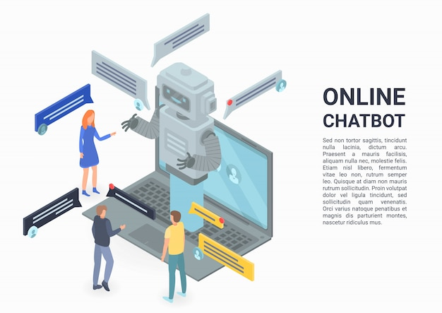 Online chatbot concept banner, isometric style Premium Vector