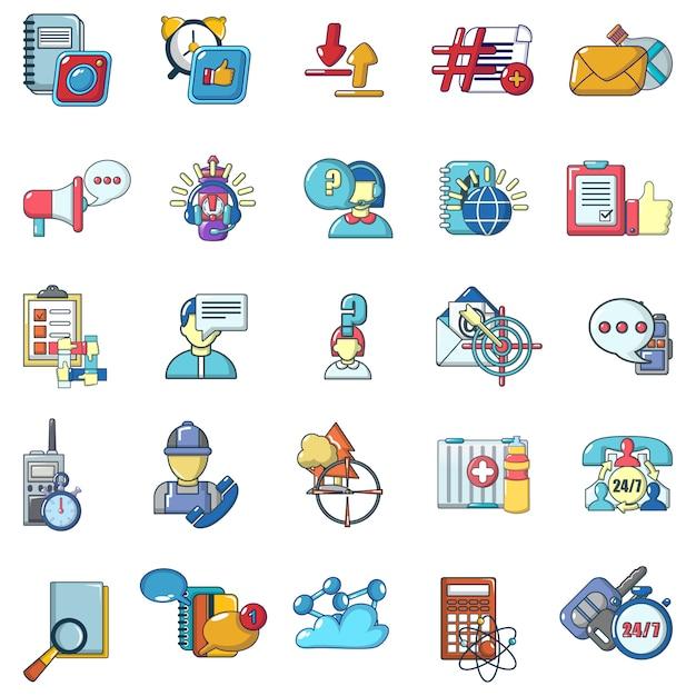 Online chatting icons set, cartoon style Premium Vector