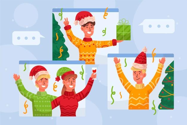 オンラインクリスマスのお祝い 無料ベクター