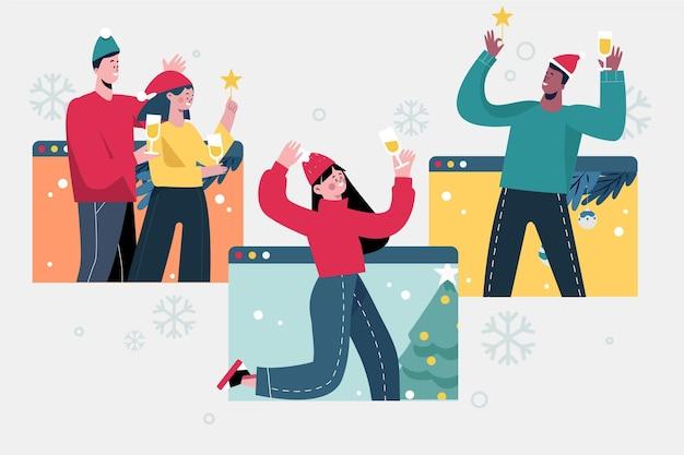 Празднование рождества онлайн Бесплатные векторы