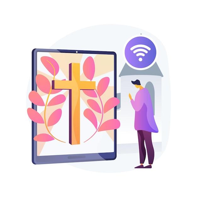 オンライン教会抽象的な概念ベクトルイラスト。インターネット教会、宗教活動、祈りと話し合い、説教、礼拝、外出禁止令、社会的距離の抽象的な比喩。 無料ベクター