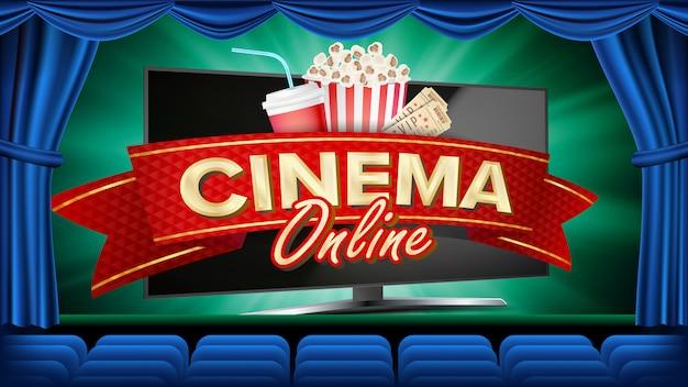 Online cinema banner vector. realistic computer monitor. movie premiere, show. blue curtain. theater. marketing Premium Vector