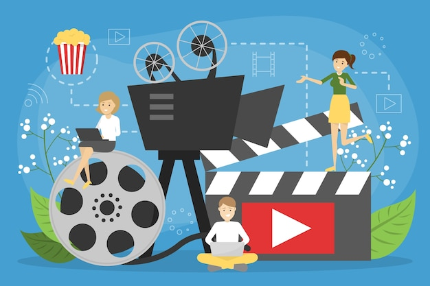 Online cinema concept. entertainment at home with popcorn Premium Vector