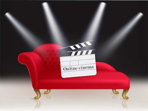 Online cinema concept illustration with red velvet couch and clapperboard on it Free Vector