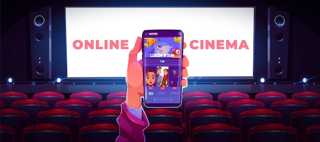 Online cinema concept with human hand holding smartphone with application for watching movie in internet Free Vector