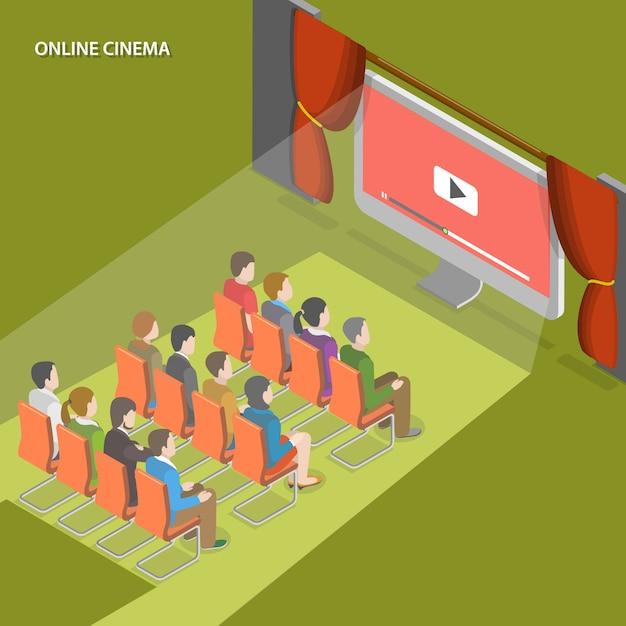 Online cinema flat isometric Premium Vector