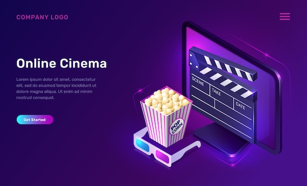 Online cinema or movie, isometric concept Free Vector