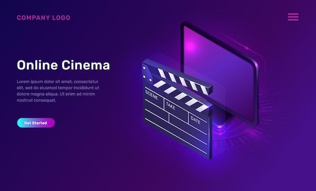 Online cinema or movie, isometric concept Free Vector