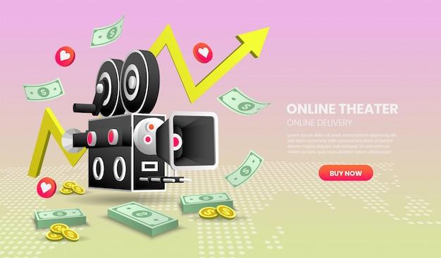 Online cinema service concept illustration. with colorful elements. Premium Vector