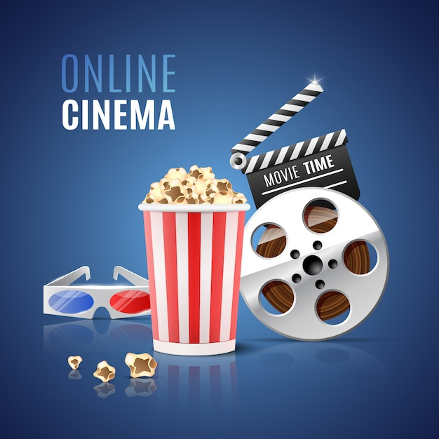 For online cinema with popcorn, filmstrip and  glasses. Premium Vector
