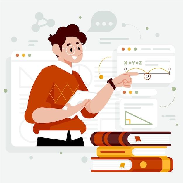 Illustrazione di classe online Vettore gratuito